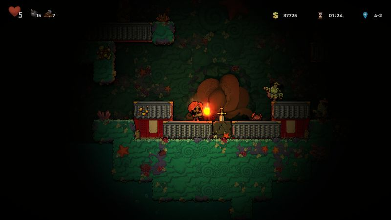 In Spelunky 2, our hero discovers a sword in a stone.