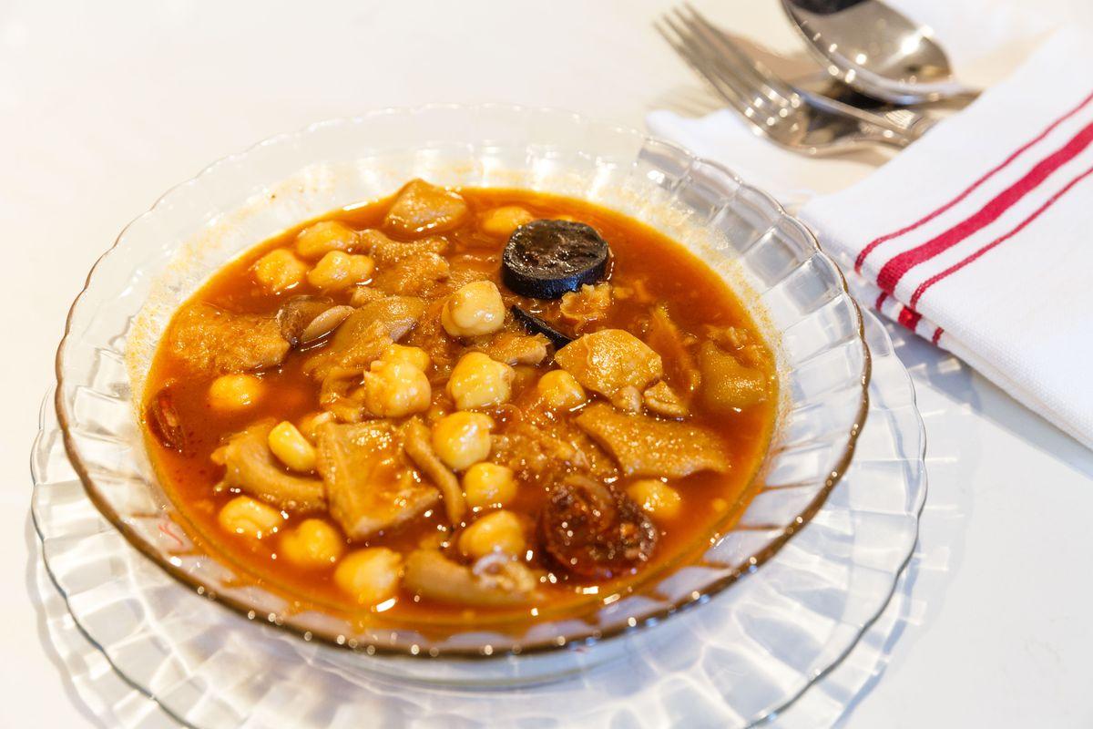 Callos con garbanzos, morcilla, y chorizo at Spanish Diner
