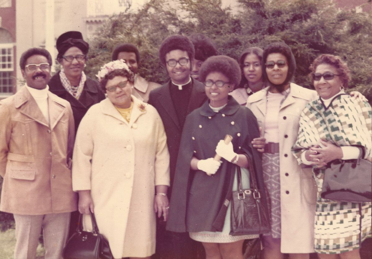 Wilton Gregory with his mother, sisters and extended family at his May 9, 1973, ordination as an Archdiocese of Chicago priest.