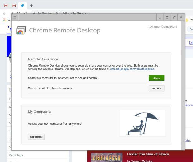 Área de trabalho remota do Google Chrome