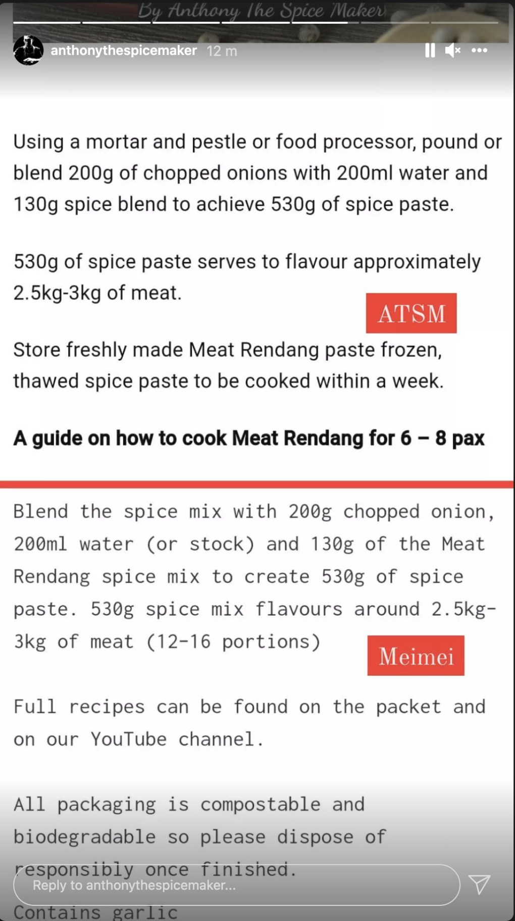 A screenshot of an Instagram Story from Singaporean company Anthony the Spicemaker, comparing recipes for meat rendang on its product page and that of Mei Mei, Elizabeth Haigh's company. The quantities given and method are close to identical.