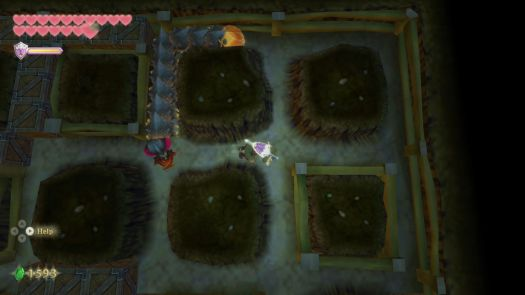 Link evades an enemy between rocks in Skyward Sword HD