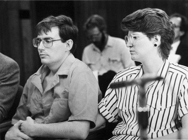 Mark Hofmann, left, and his then-wife Dorie attend a Board of Pardons hearing in January 1988 before divorcing.