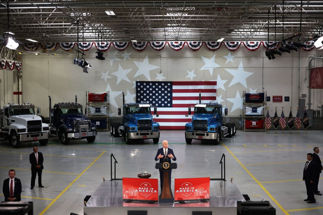President Biden Delivers Remarks At Mack Truck Facility In Pennsylvania