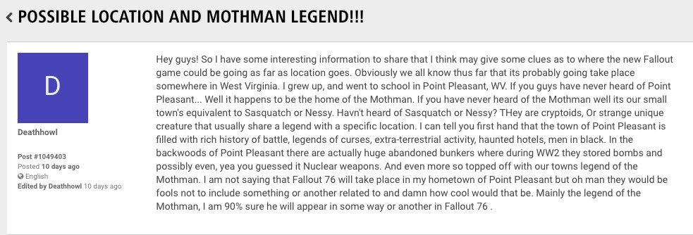 Fans Think West Virginia Urban Legend Mothman Is In Fallout 76 The Verge