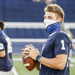 BYU quarterback Zach Wilson goes through warmups before the Cougars' game against Navy on Monday, Sept. 7, 2020, at Navy-Marine Corps Memorial Stadium in Annapolis, Maryland.