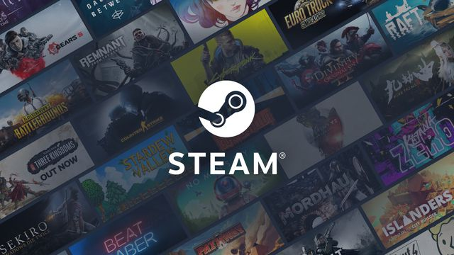 The Steam logo against a backdrop of various video game titles and artwork