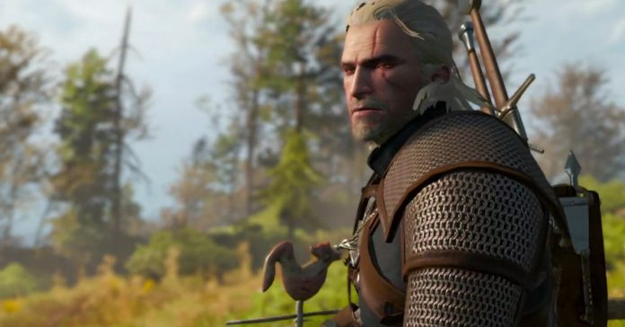 Geralt looking sad in the Switch version of The Witcher 3: Wild Hunt