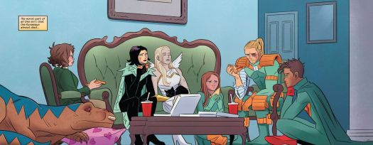 Demoralized and injured, the Runaways share a pizza in their superhero getups in Runaways #32, Marvel Comics (2020).