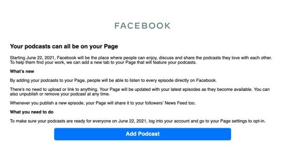 Podcasts start coming to Facebook next week