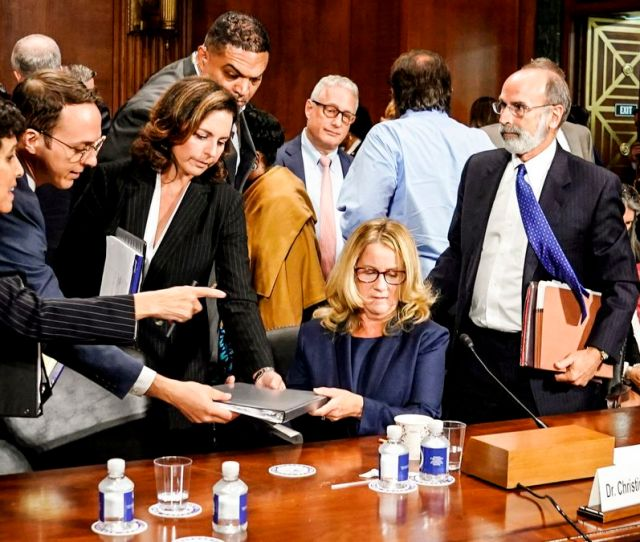 Christine Blasey Ford Takes A Break From Testifying Before The Senate Judiciary Committee On September   Andrew Harnik Pool Getty Images