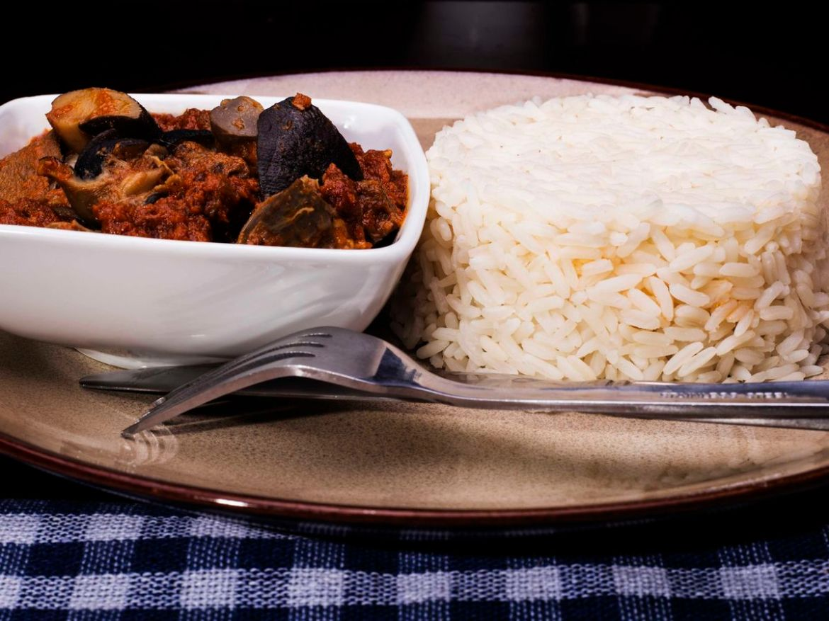 A sculpted mound of rice sits on a plate beside a small bowl of chunky stew with a fork resting beside all on a gingham tablecloth