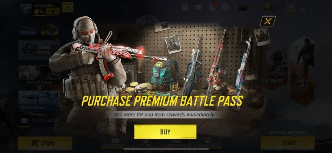 Call of Duty: Mobile shows an advertisement to buy the premium battle pass
