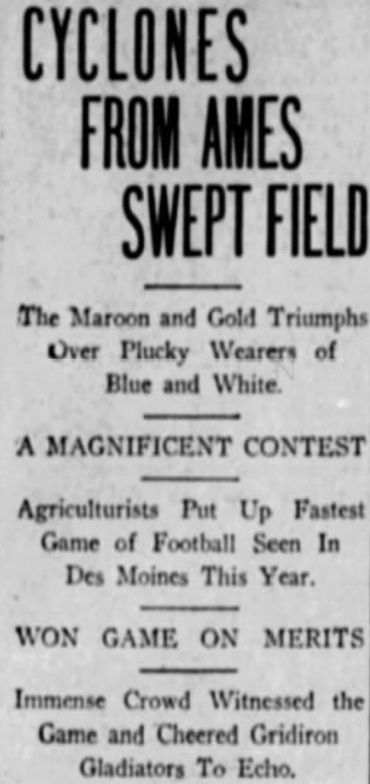 Classic Games In Cyclone Football History 1903 At Drake