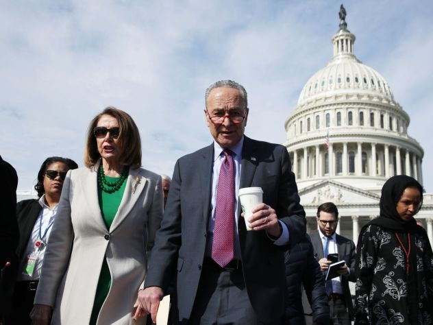 US Speaker of the House Rep. Nancy Pelosi, Senate Minority Leader Sen. Chuck Schumer, and Rep. Ilhan Omar (D-MN) after a news conference on April 2.