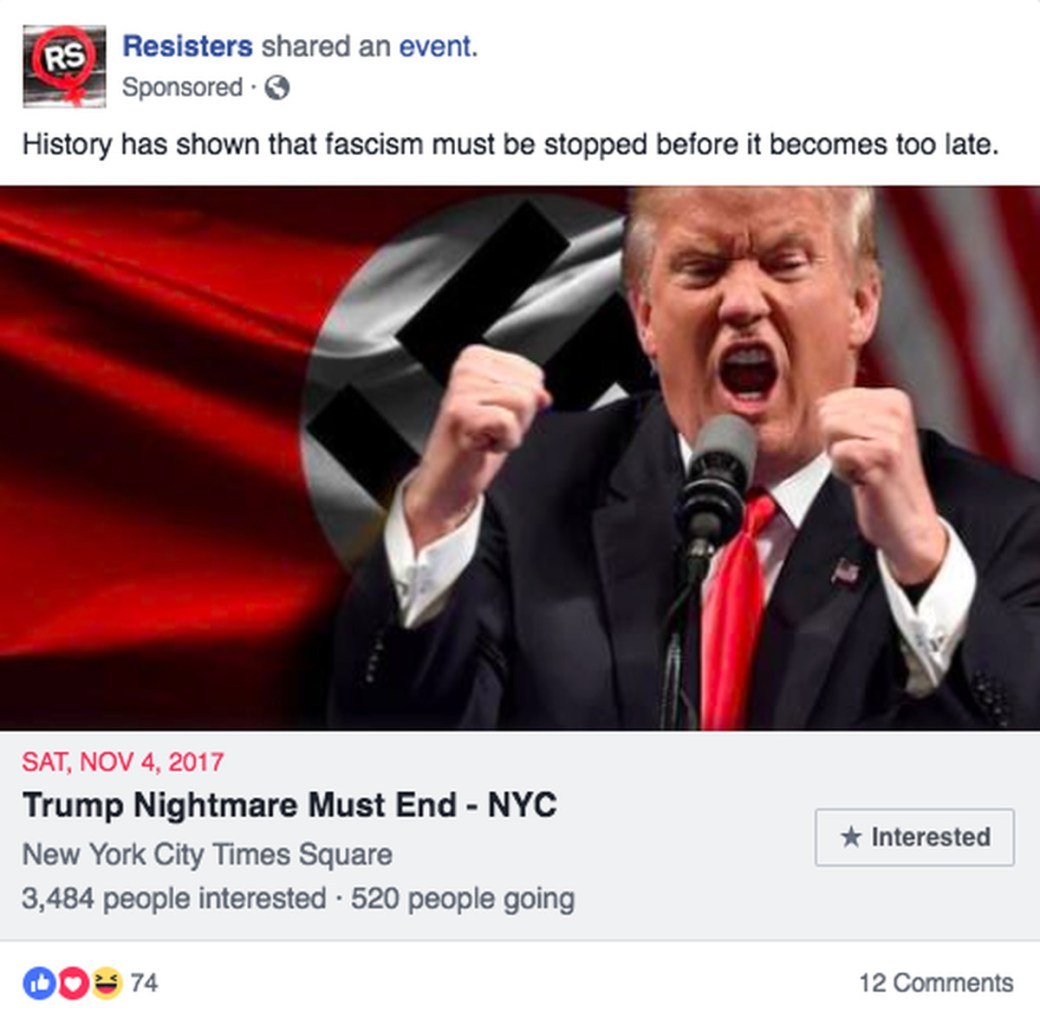 A post from a removed page (Facebook)