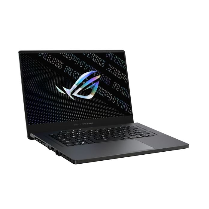 The Zephyrus G15 in Eclipse Gray open, angled to the right. The screen displays the ROG logo.