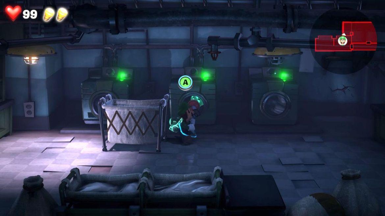 Luigi's Mansion 3 B1 Laundry room green gem