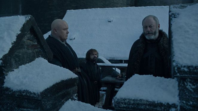 "Game of Thrones S08E01 Tyrion, Varys, and Davos ""Onion Knight"" Seaworth at Winterfell"