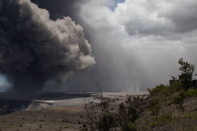 Ash from the Kilauea plume falling onto the Ka`u desert on May 15, 2018.