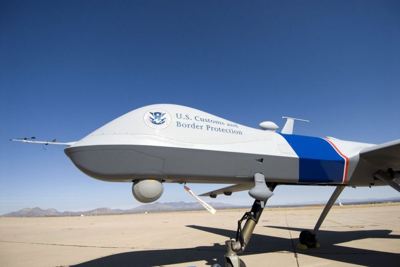 A Predator drone with the Customs and Border Protection logo painted on the side.