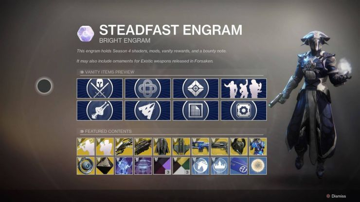 A menu in Destiny 2 showing a variety of items you might win in a Bright Engram