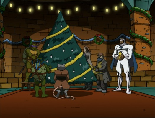 The turtles and Splinter decorate a Christmas tree in their sewer home in Teenage Mutant Ninja Turtles (2003).