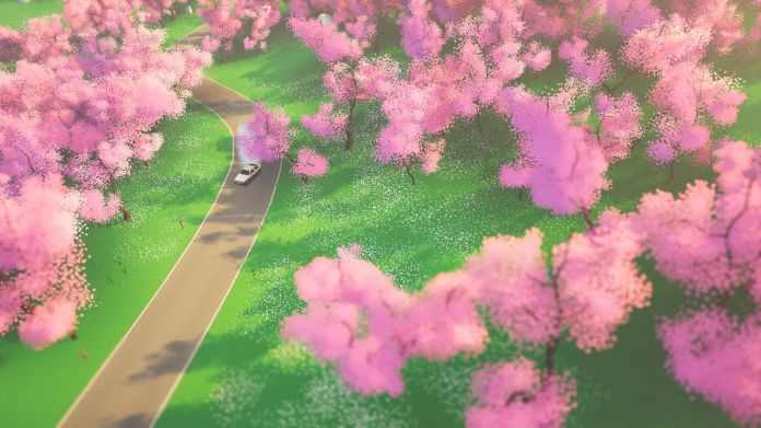 pink blossomed trees line a countryside road in Art of Rally