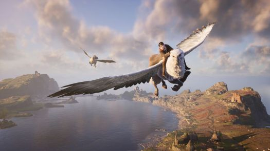 two Hogwarts students flying over water on hippogriffs in Hogwarts Legacy