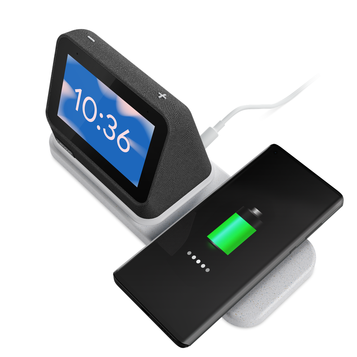 The Lenovo Smart Clock on top of a wireless charger that charges a smart phone. The screen displays the time 10:36 on a blue background with clouds.