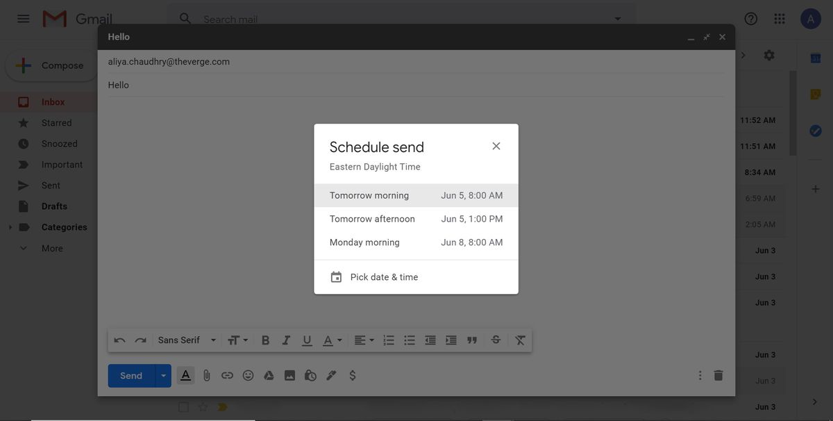 """Schedule send"" window"