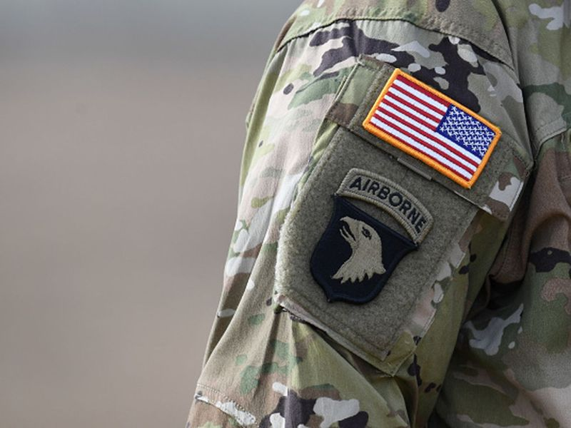 A US flag is pictured on a US Army soldier's uniform during the Dynamic Front 18 exercise in Grafenwoehr, near Eschenbach, southern Germany, on March 7, 2018.