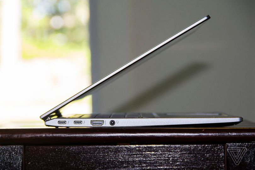 The Acer Chromebook Spin 713 half open seen from the left side.
