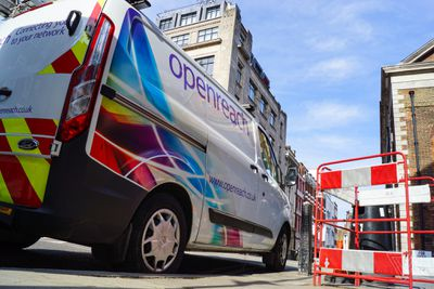 An Openreach van parked in central London. Openreach, a subsidiary of British Telecom,  is the biggest company for maintaining the physical infrastructure on behalf of ISP's who sell the services to users.