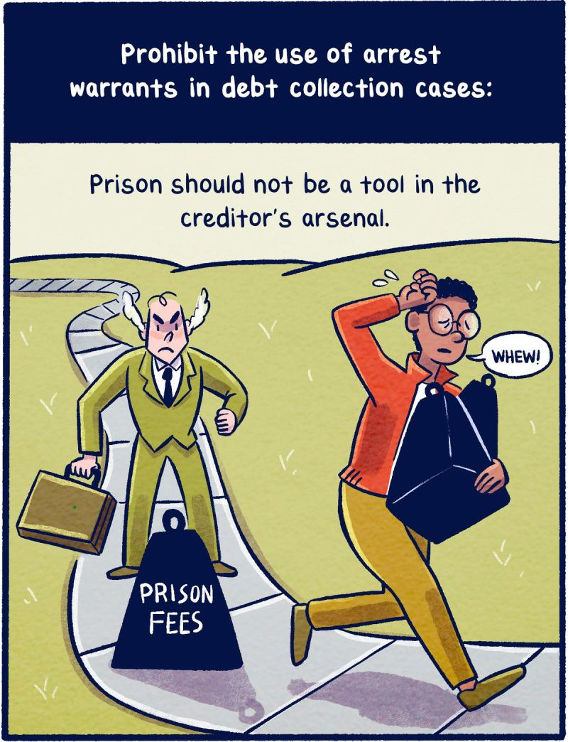 Prohibit the use of arrest warrants in debt collection cases: Prison should not be a tool in the creditor's arsenal.