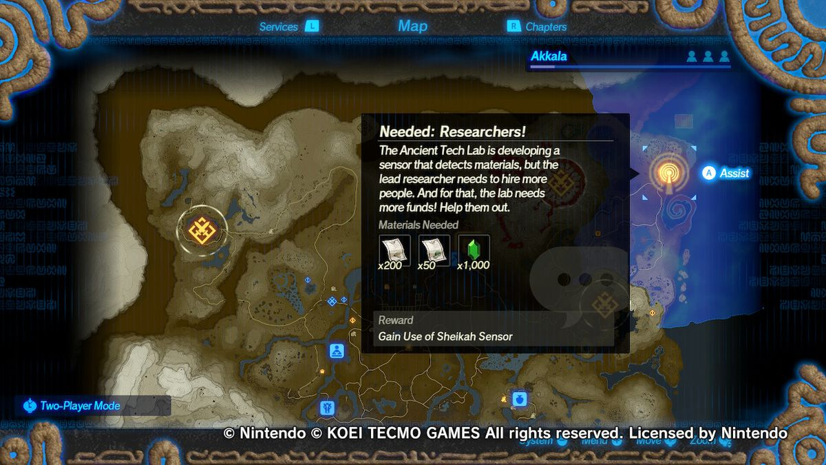 Information on how to get the Sheikah Sensor in Hyrule Warriors: Age of Calamity