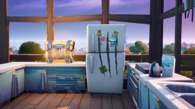 A Fortnite refrigerator with Wolverine's Claw marks it in