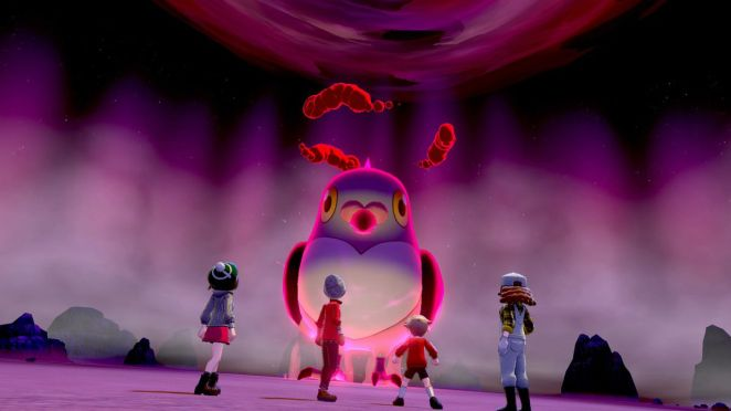 Four characters face an enemy in Pokémon Sword and Shield