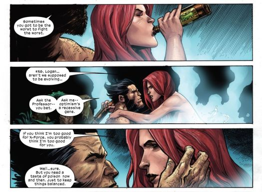 Wolverine and Jean Grey enjoy some naked hot tub intimacy and a beer in X-Force #10, Marvel Comics (2020).