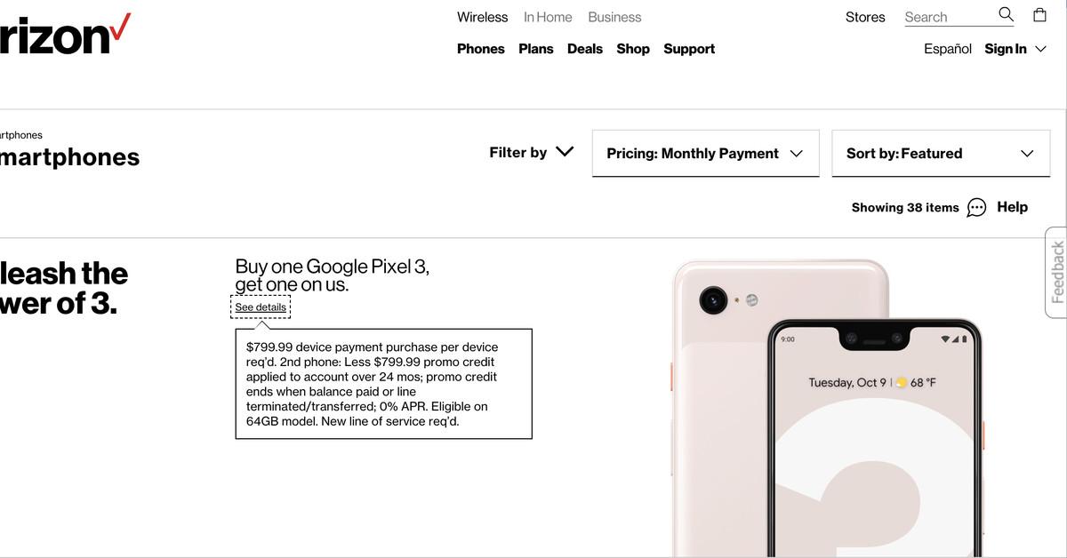 Verizon suggests Pixel 3 pricing will start at $799.99