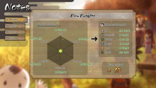 One of the menus in Sakuna: Of Rice and Ruin shows a breakdown of all the ways rice can grow