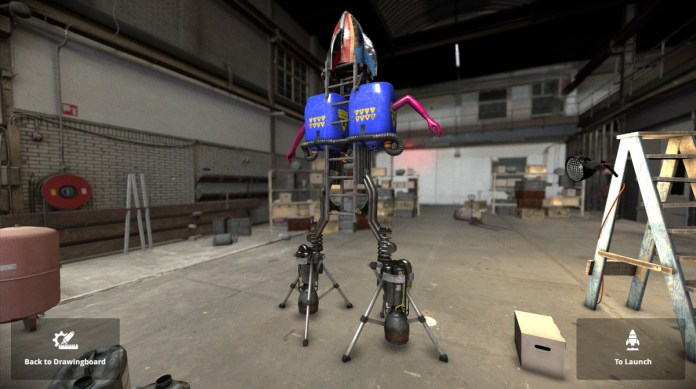 A rocket composed of dual thrusters and pink mannequin arms.