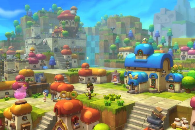 A series of houses among mushroom-filled hills in MapleStory 2