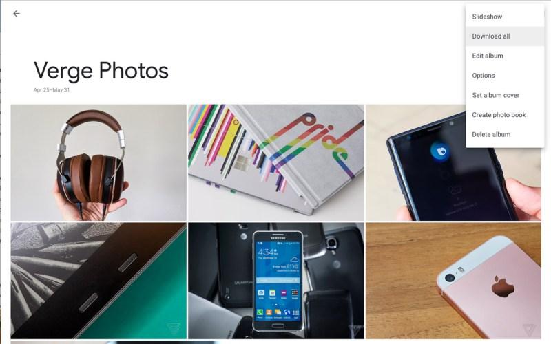 google foto scarica l'album