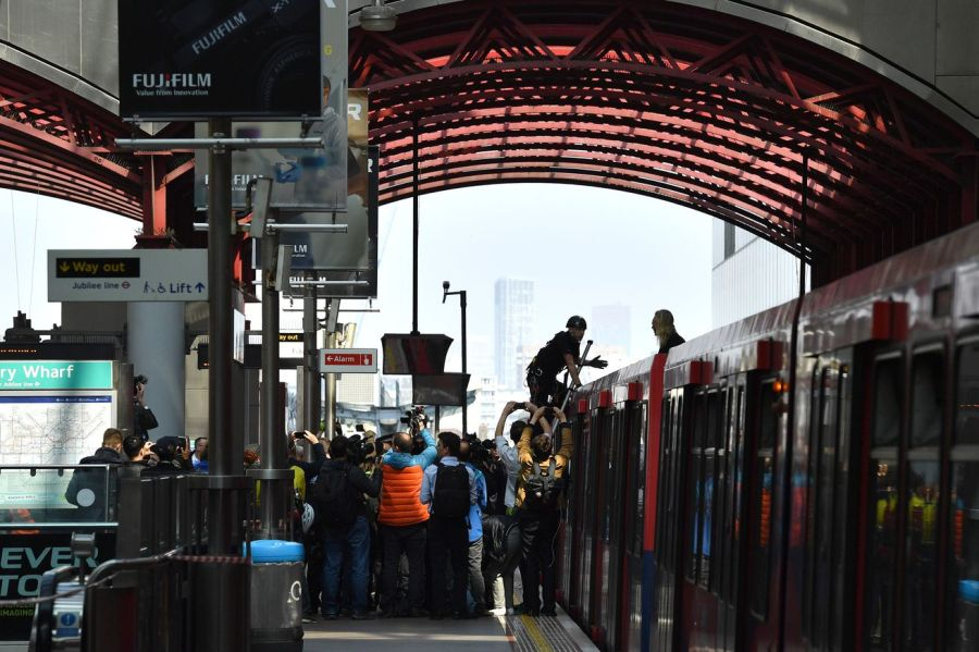 Climate protestors targeted the Docklands Light Railway rail system in London today.