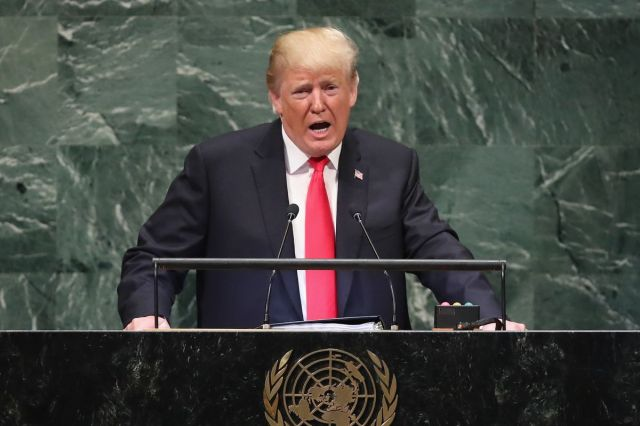 President Donald Trump speaks at the UN General Assembly on September 25, 2018. He defended America's sovereignty throughout.