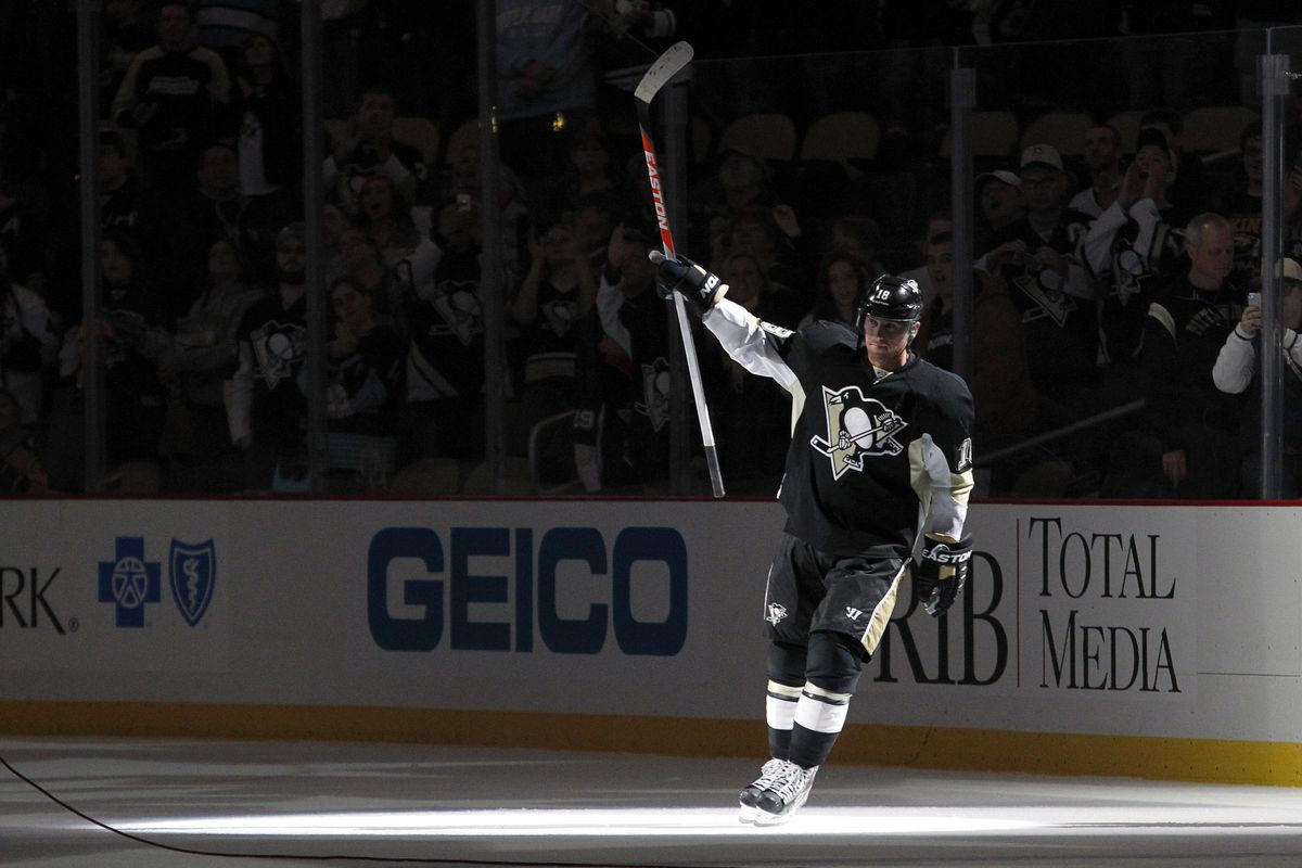 Nov 15, 2013; Pittsburgh, Pa, Usa; Pittsburgh Penguins Left Wing James Neal  (18) Reacts After Being Named The First Star Of The Game Against The  Nashville