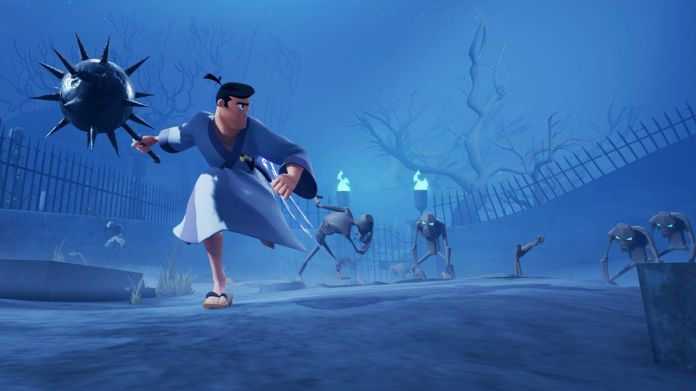samurai jack runs with a giant mace in his hand in Battle Through Time