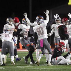 Skyridge plays American Fork in a varsity football game at American Fork High School in American Fork on Wednesday, Oct. 13, 2021. Skyridge won 42-22.