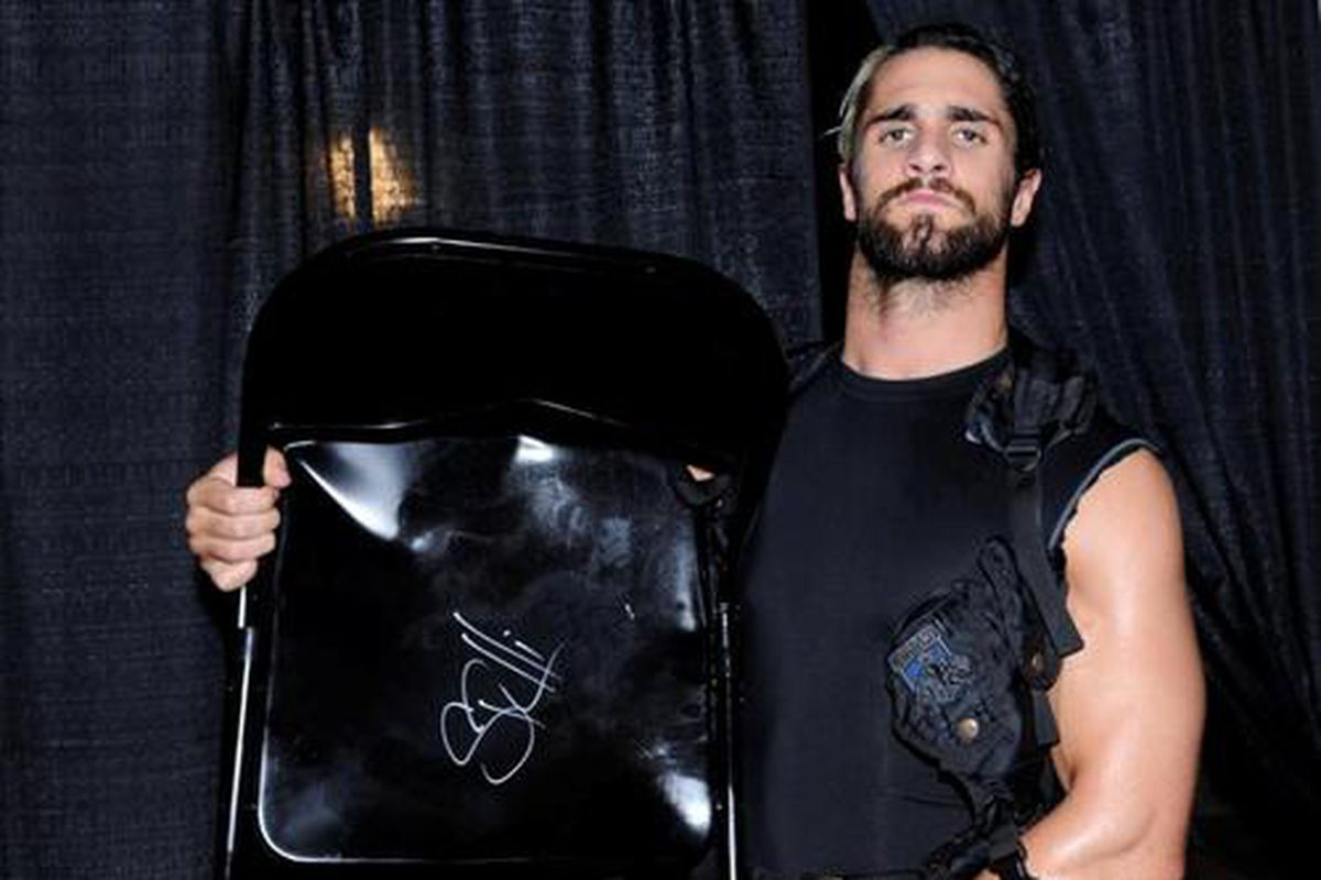 steel chair used in wwe gym accessories bid on the seth rollins to stab roman reigns